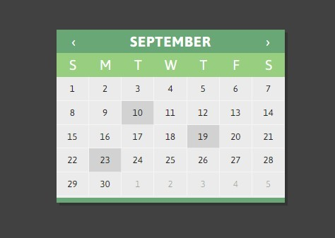 Jquery Calendar Plugin Using Html Templates Clndr Js Free Jquery
