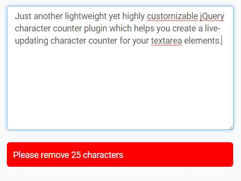 jQuery Character Counter/Limiter For Textarea - characterCounter.js