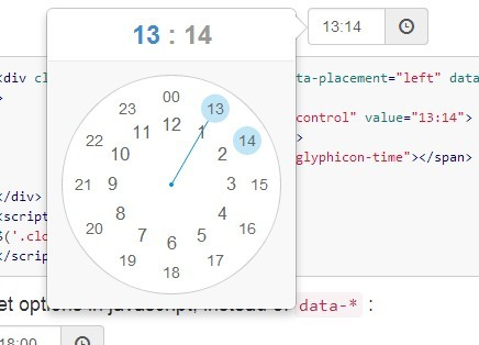jQuery Clock Style Time Picker Plugin For Bootstrap 3/4