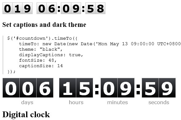 jQuery Countdown Timer & Digital Clock Plugin - timeTo