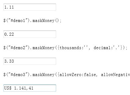 jQuery Currency Input Filed Mask Plugin - maskmoney | Free jQuery