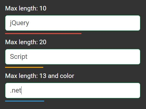 jQuery Current/Max Indicator For Input Fields - Max Indicator