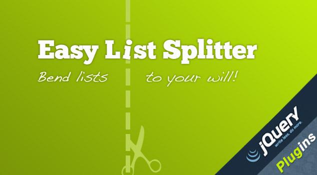 jQuery Easy List Splitter Plugin
