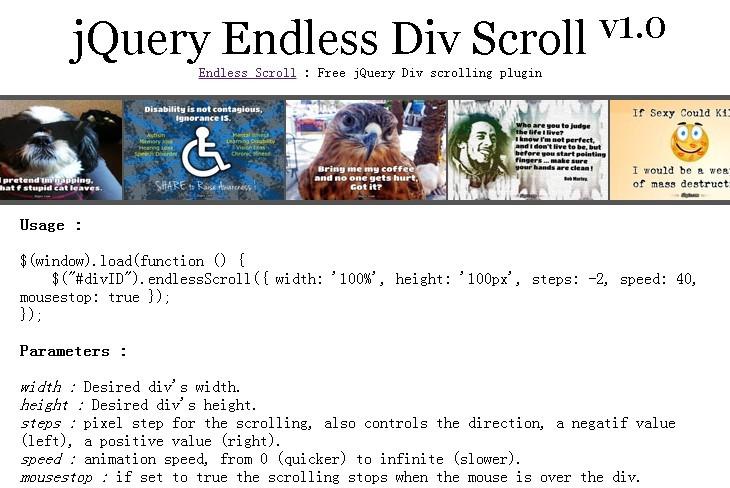 jQuery Endless Div Scroll Plugin