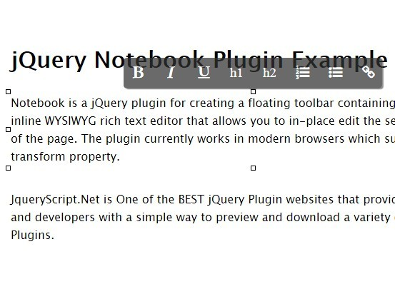 jQuery Inplace WYSIWYG Rich Text Editor - notebook