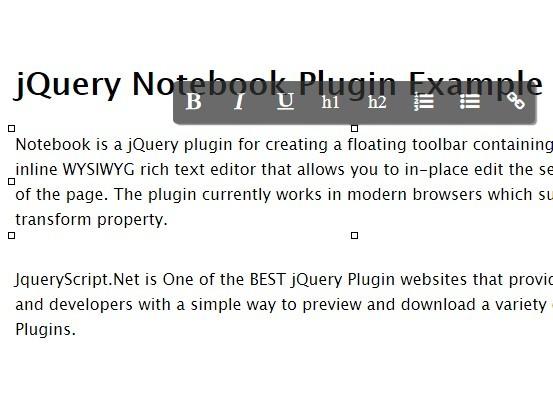 jQuery Inplace WYSIWYG Rich Text Editor - notebook