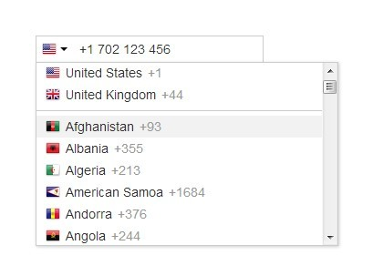 International Telephone Input With Flags and Dial Codes