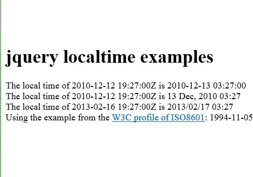 jQuery Local Time Plugin For Your International Visitors - localtime