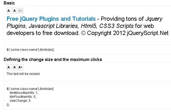 jQuery Plugin For Altering The Font Size On Sites - jFontSize