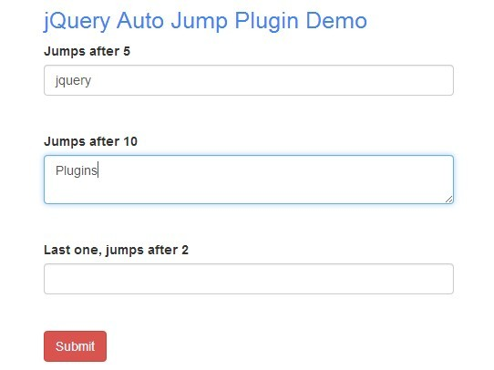 jQuery Plugin For Auto Tabbing On Text Fields - Auto Jump