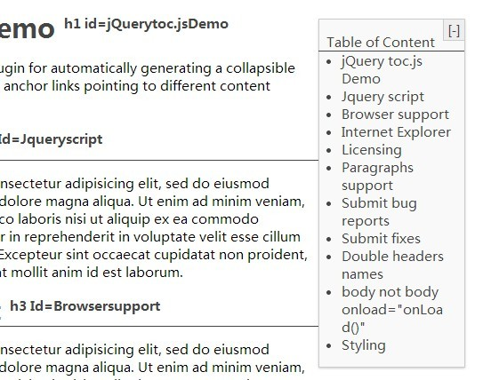 jQuery Plugin For Automatic Table of Contents - toc.js