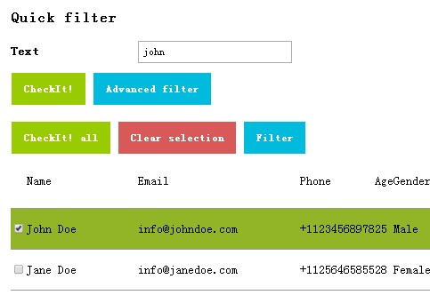 jQuery Plugin For Data Table Filting and Selecting - checkit
