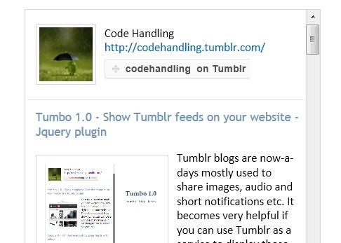 jQuery Plugin For Displaying Tumblr Blog Feeds - Tumbo
