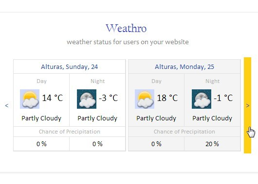 jQuery Plugin For Displaying Weather Status For Users - Weathro