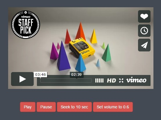 jQuery Plugin For Easy Vimeo Video Controller - Vimeo.API.js