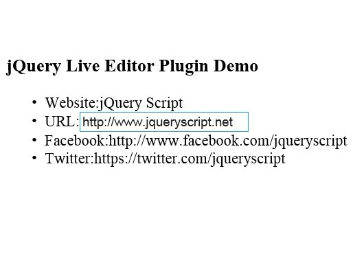 jQuery Plugin For Editable Field On Hover Over - liveeditor