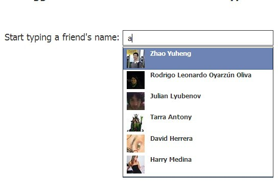 jQuery Plugin For Facebook Friend Autocomplete Suggestion Box