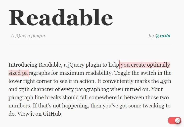 jQuery Plugin For More Readable Paragraphs - Readable