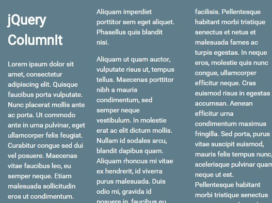 jQuery Plugin For Multi-column Text Layout - ColumnIt