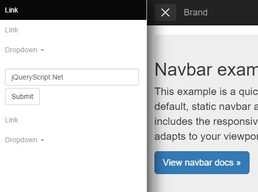 jQuery Plugin For Off-canvas Bootstrap Navigation