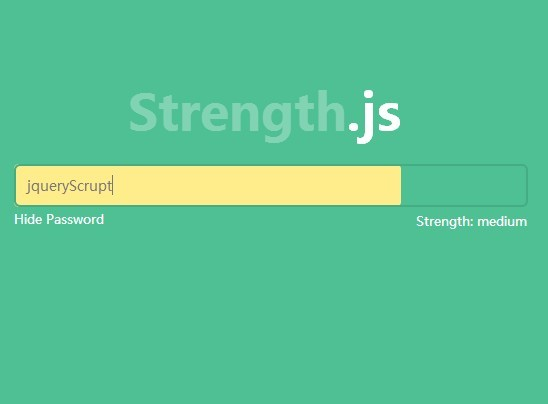 jQuery Plugin For Password Input Enhancement - Strength.js