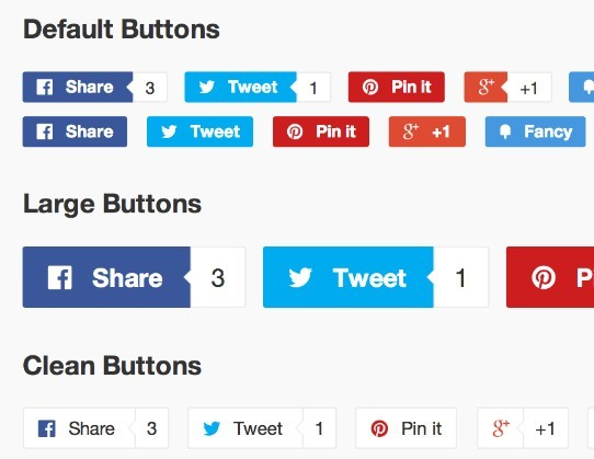 jQuery Plugin For Pretty Social Buttons with Counters