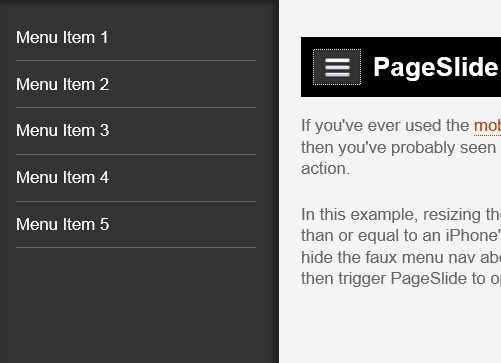 jQuery Plugin For Responsive Page Slide Menu - PageSlide