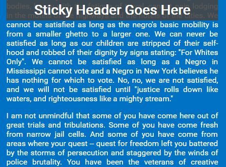 jQuery Plugin For Responsive Sticky Site Header - Stickable