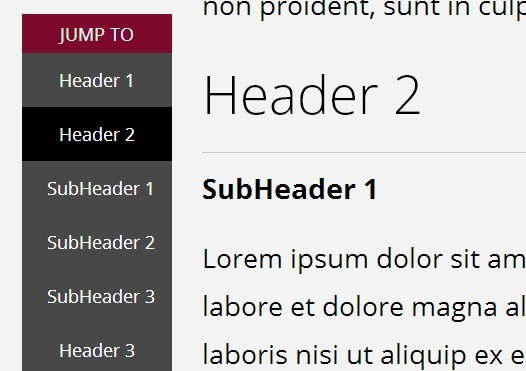 jQuery Plugin For Scroll To Navigation Menu - jumpto