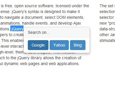 jQuery Plugin For Searchable Site Content - selectedText
