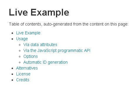 jQuery Plugin For Simple Table of Contents - toc