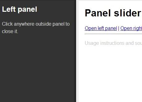 jQuery Plugin For Sliding Side Panel - Panel Slider | Free