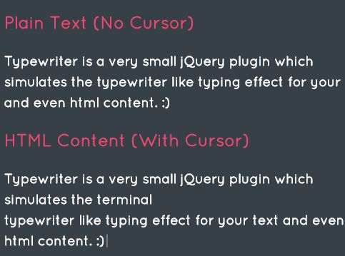 jQuery Plugin For Terminal Text Typing Effect - Typewriter