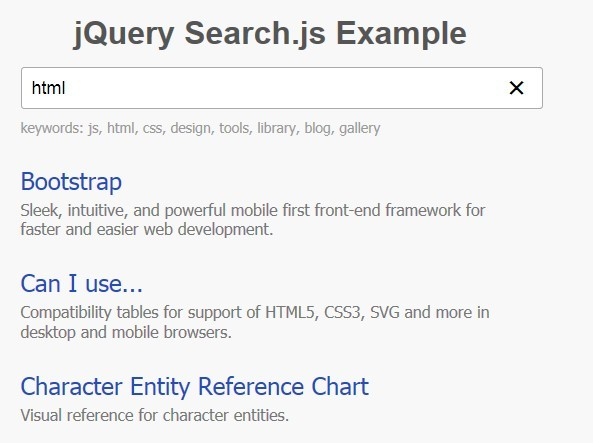 jQuery Plugin For Text Live Search - Search.js
