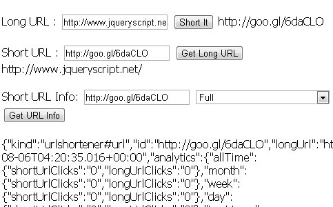 jQuery Plugin For URL Shortener with Google API - URL Shortener