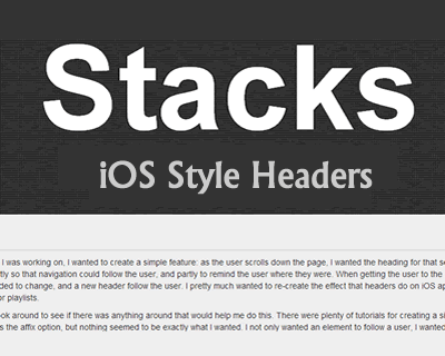 jQuery Plugin For iOS List-Style Sticky Headers - Stacks