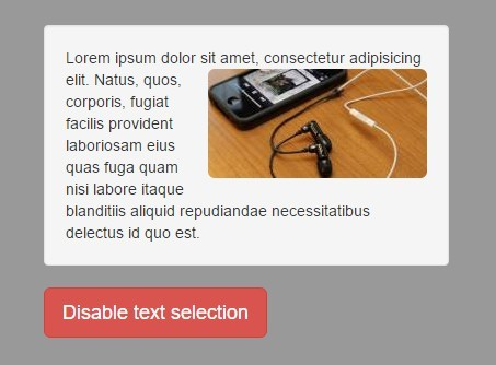 jQuery Plugin To Disable Element Selection On Webpage - selection.js