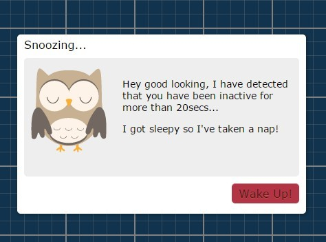 jQuery Plugin To Display A Popup After Visitor Is Idle - Sleepy Head Modal