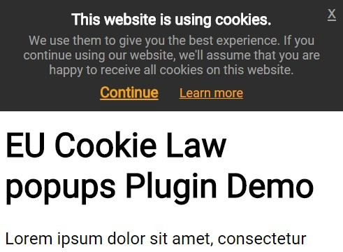 jQuery Plugin To Display EU Cookie Law Alert Popups