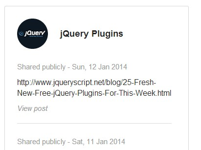 jQuery Plugin To Display Google Plus Feeds On Your Website