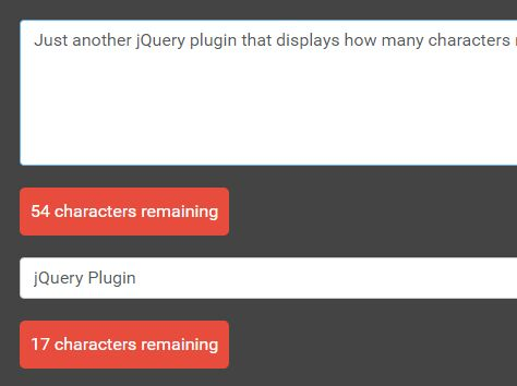 jQuery Plugin To Display Remaining Characters In Text Field - charactersRemaining