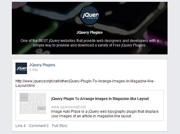 jQuery Plugin To Display The Activity of Your Facebook Pages or Groups