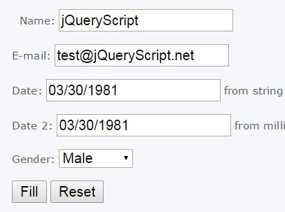 jQuery Plugin To Fill Forms From JavaScript Objects - Form Fill