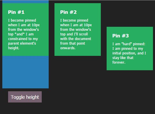 jQuery Plugin To Fix DOM Elements On The Page - Zebra_Pin
