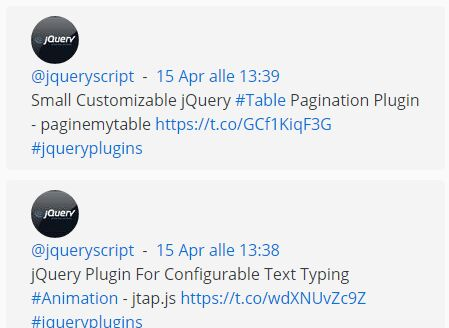 jQuery Plugin To Get The Latest Tweets From Twitter - TwitsFetcher