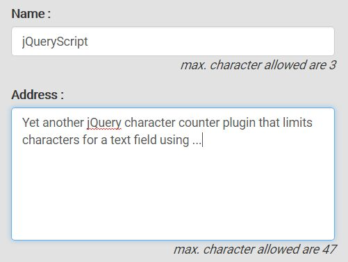 jQuery Plugin To Limit Characters For Text Fields - setCharLimit.js