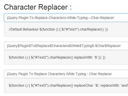 jQuery Plugin To Replace Characters While Typing - Char Replacer