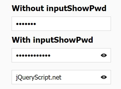 jQuery Plugin To Show Hidden Password In Password Field - inputShowPwd