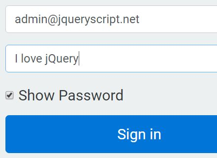 jQuery Plugin To Show / Hide Password In The Form