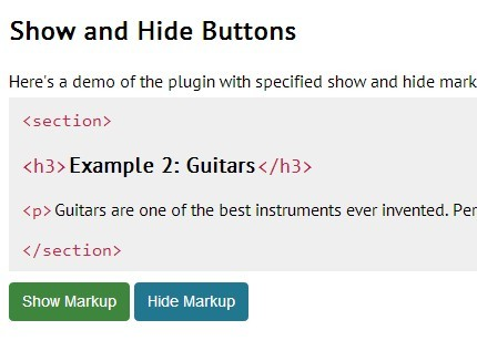 jQuery Plugin To Show Html Markup Of An Element - showMarkup